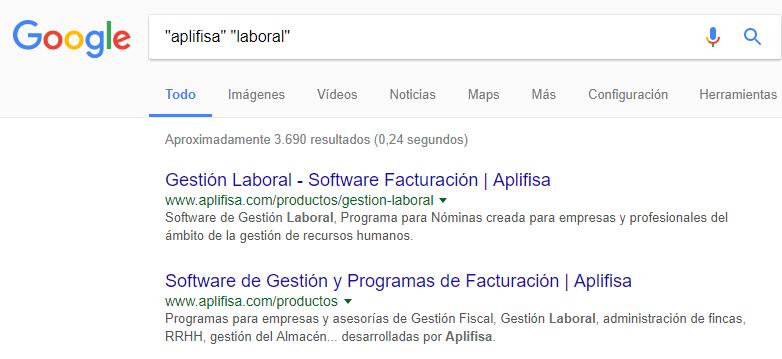 Comillas en Google