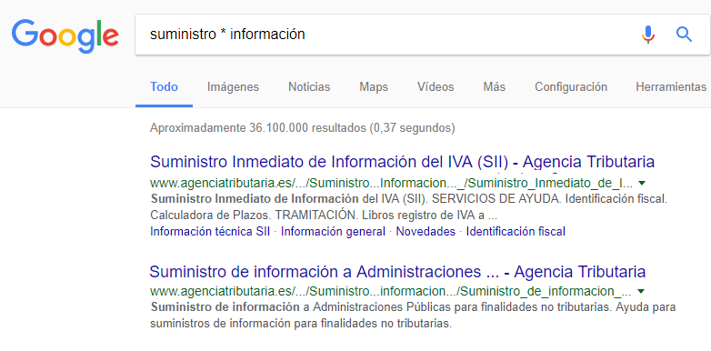 Comodín en Google