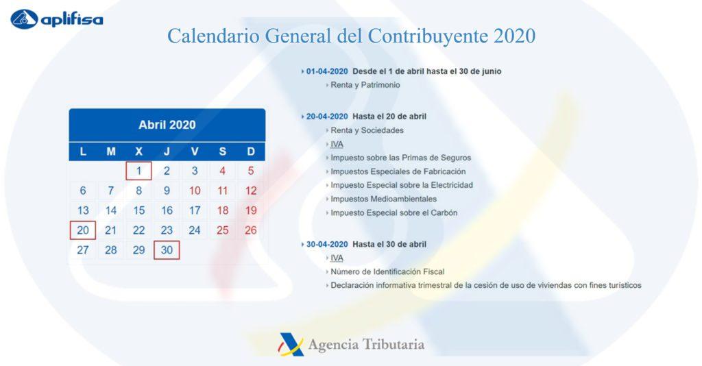 Calendario del Contribuyente de abril 2020
