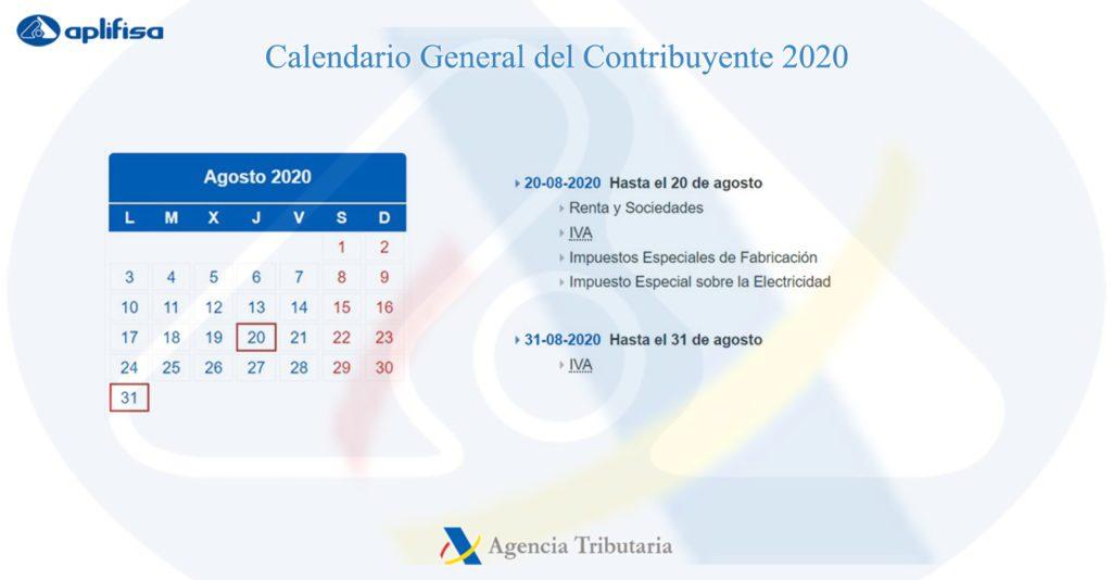 Calendario del Contribuyente de agosto 2020