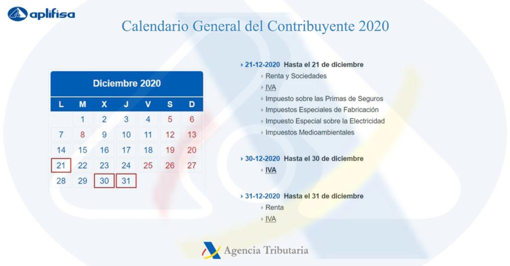 Calendario del Contribuyente de diciembre 2020