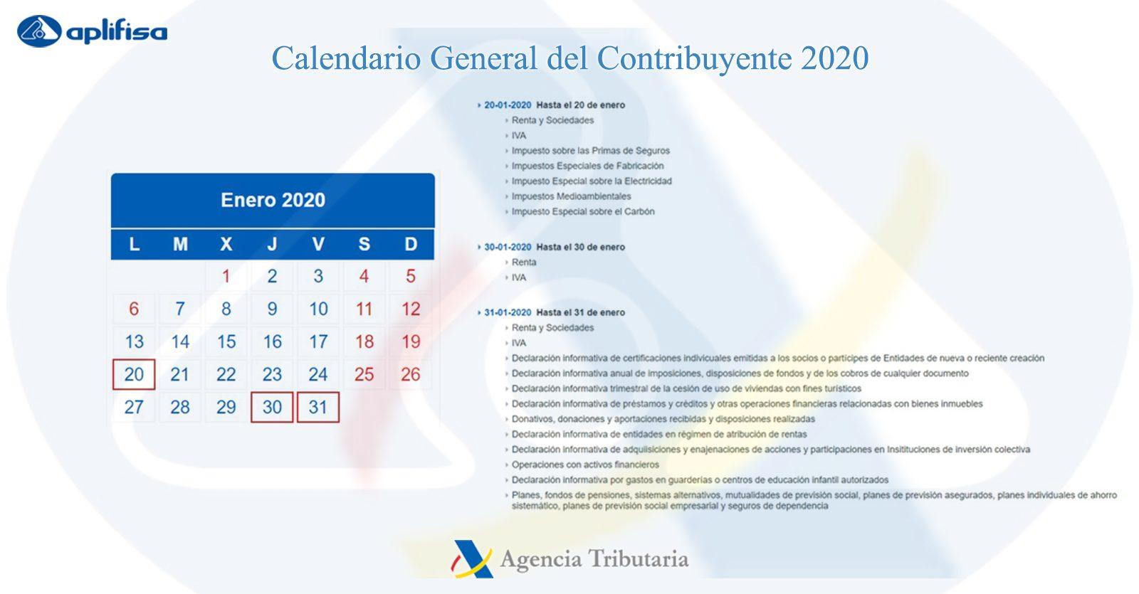 Calendario del Contribuyente de enero 2020