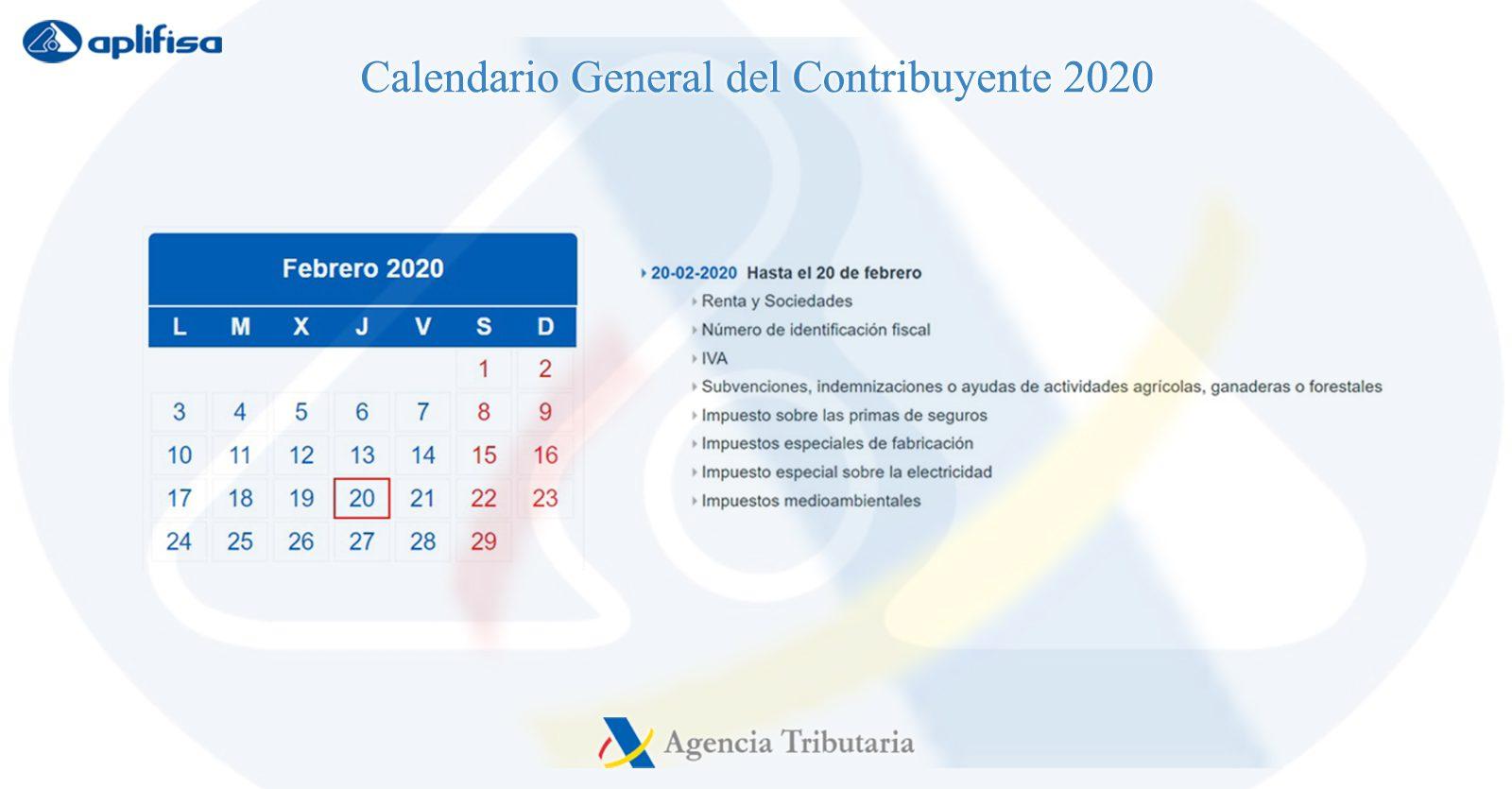 Calendario del Contribuyente de febrero 2020