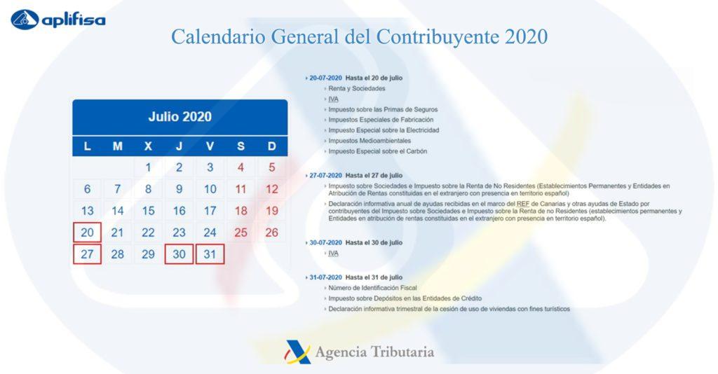 Calendario del Contribuyente de julio 2020