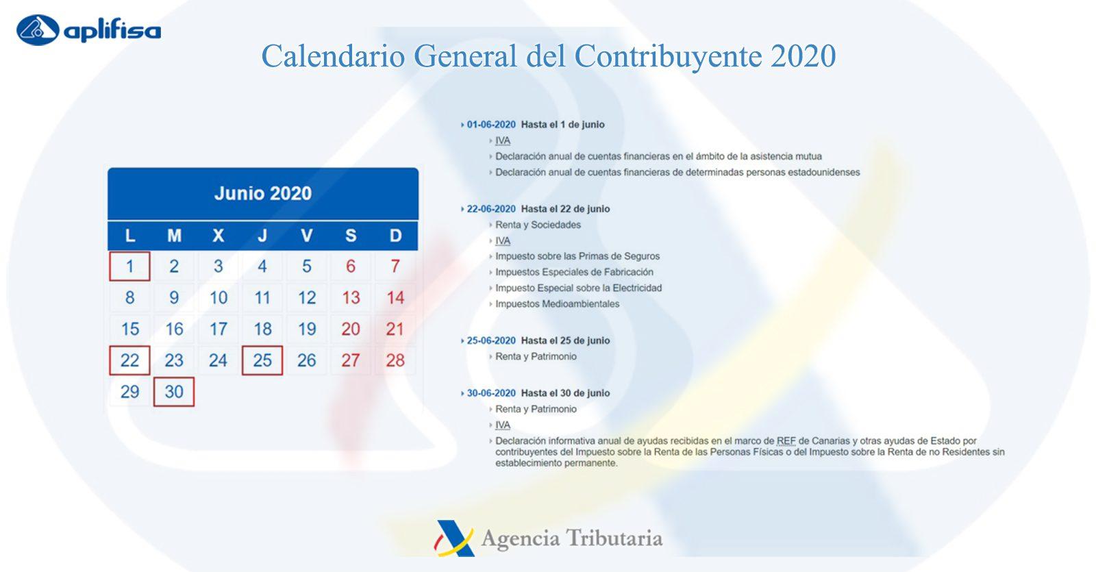 Calendario del Contribuyente de junio 2020