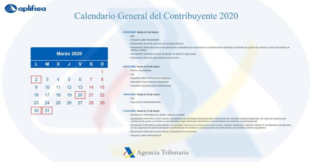 Calendario del Contribuyente de marzo 2020