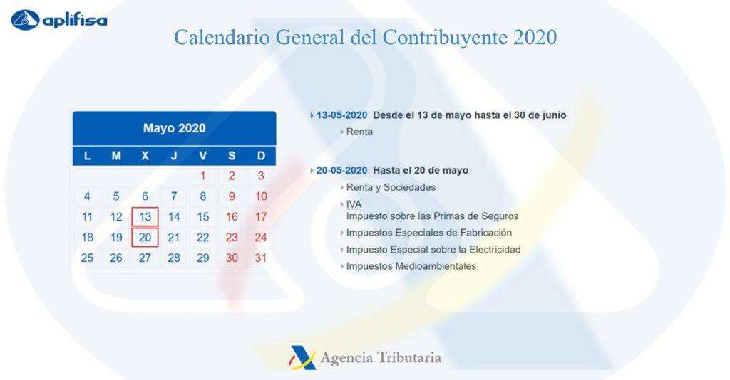 Calendario del Contribuyente de mayo 2020