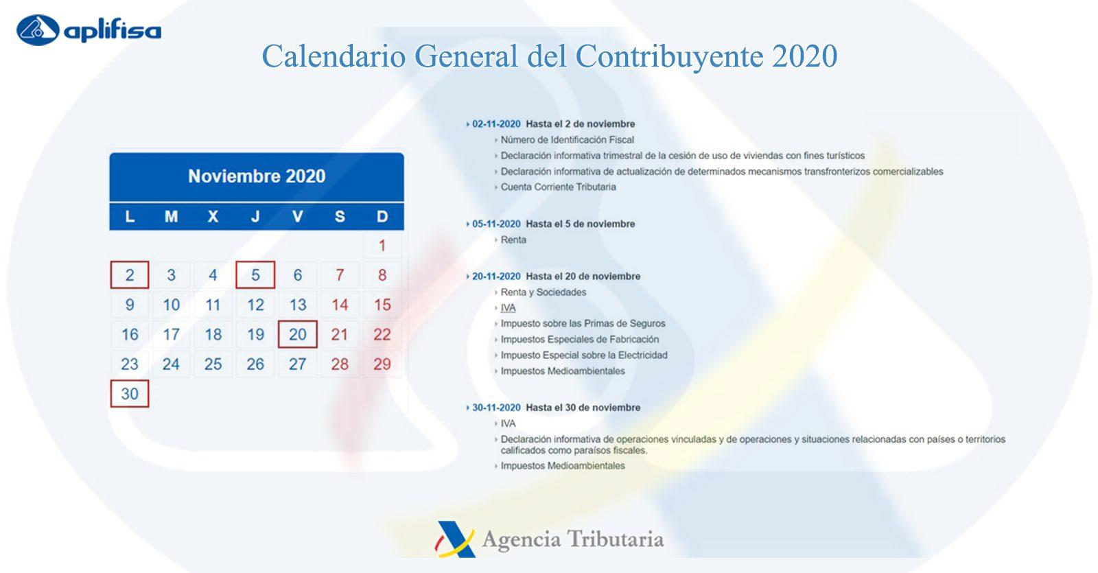 Calendario del Contribuyente de noviembre 2020
