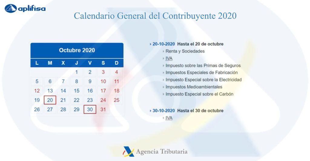 Calendario del Contribuyente de octubre 2020