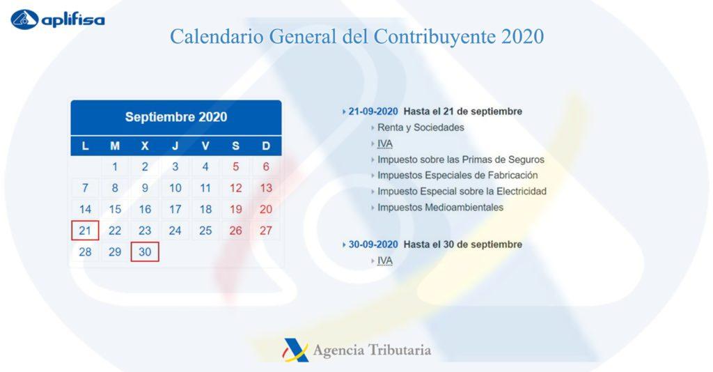 Calendario del Contribuyente de septiembre 2020