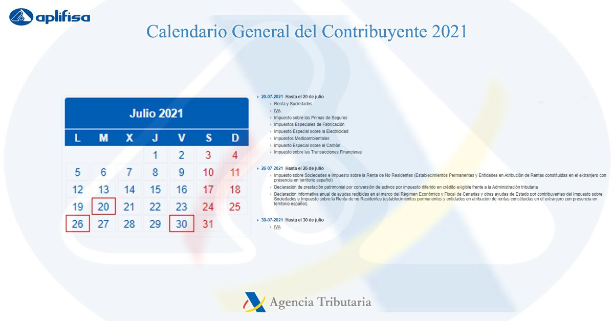calendario contribuyente julio 2021 software para asesorías y empresas