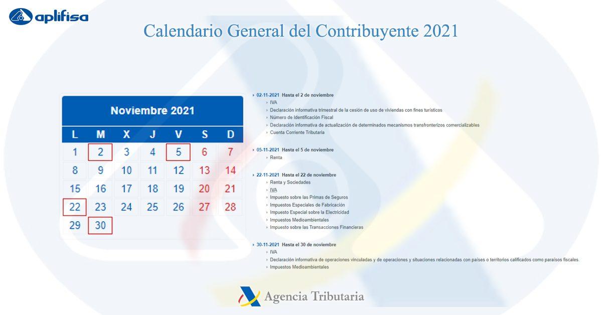calendario contribuyente noviembre 2021 software para asesorías y empresas