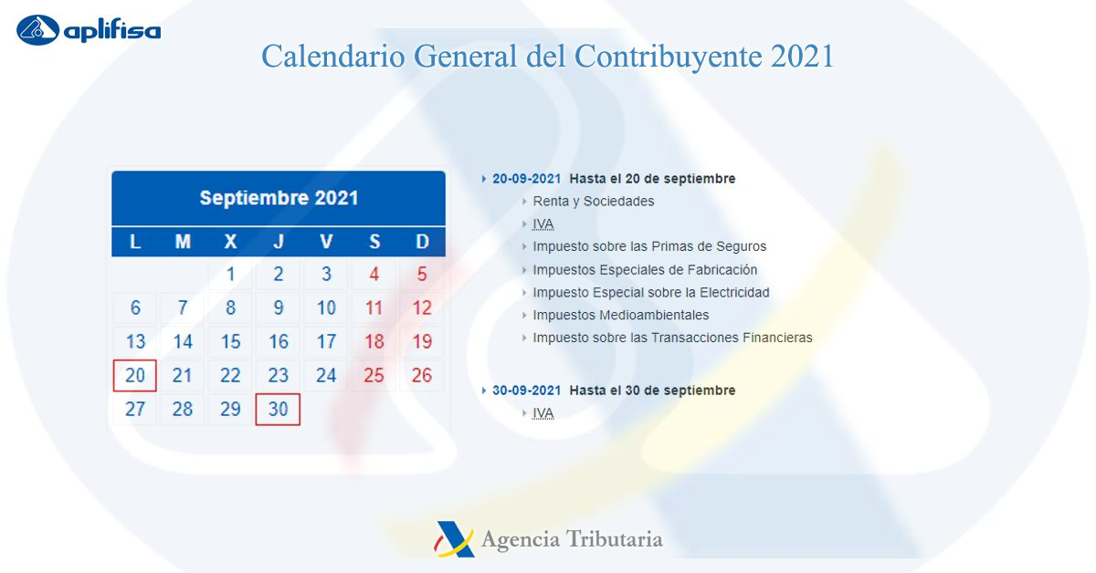 calendario contribuyente septiembre 2021 software para asesorías y empresas